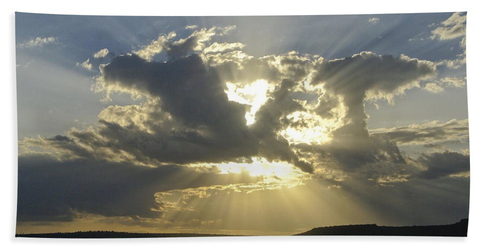 Africa Hand Towel featuring the photograph Heavenly Rays by Michele Burgess