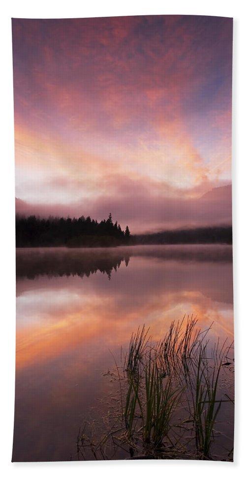 Sunrise Bath Sheet featuring the photograph Heavenly Skies by Mike Dawson