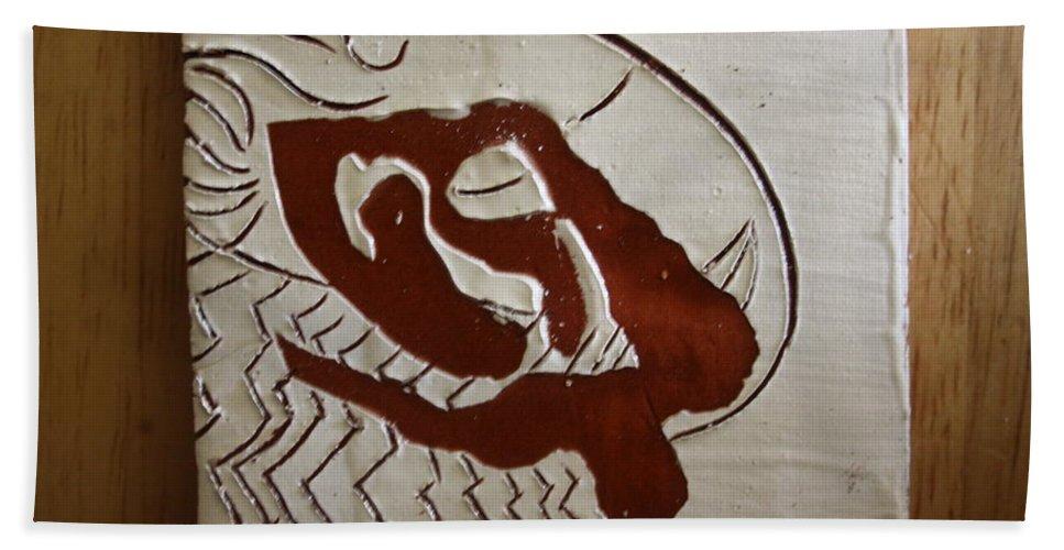 Jesus Bath Sheet featuring the ceramic art Heavens Above - Tile by Gloria Ssali