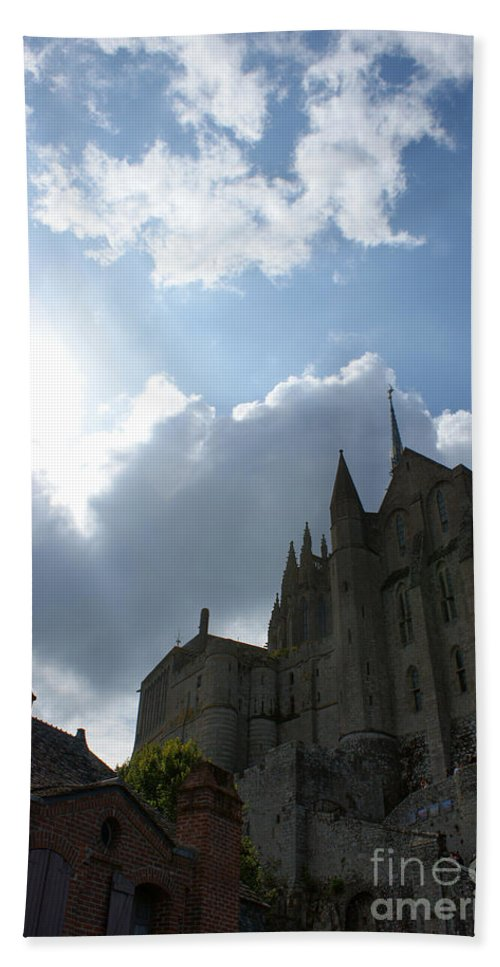 Sky Bath Sheet featuring the photograph Heavens Above Mont St. Michel Abbey by Christine Jepsen