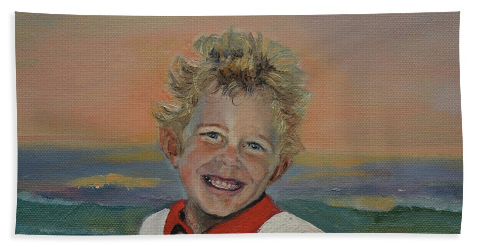 Little Boy On The Beach Bath Sheet featuring the painting Heaven's Child by Jan Dappen