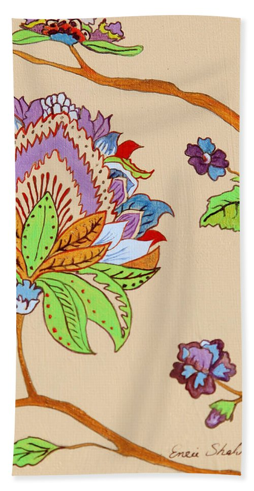 Floral Bath Towel featuring the painting Heavens Flower by Portraits By NC