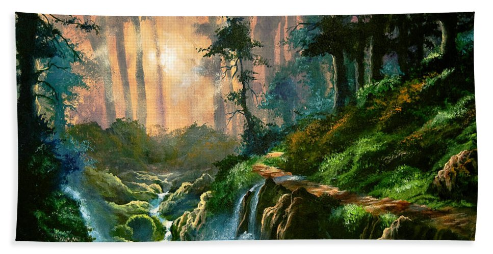 Landscape Bath Sheet featuring the painting Heaven's Light by Marco Antonio Aguilar