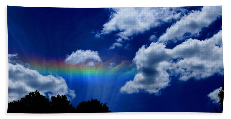 Heavens Rainbow Bath Sheet featuring the photograph Heavens Rainbow by Linda Sannuti
