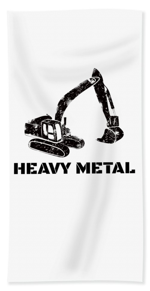 Backhoe-bulldozer Hand Towel featuring the digital art Heavy Metal Digger Funny Cute Backhoe Bulldozer Black by Henry B