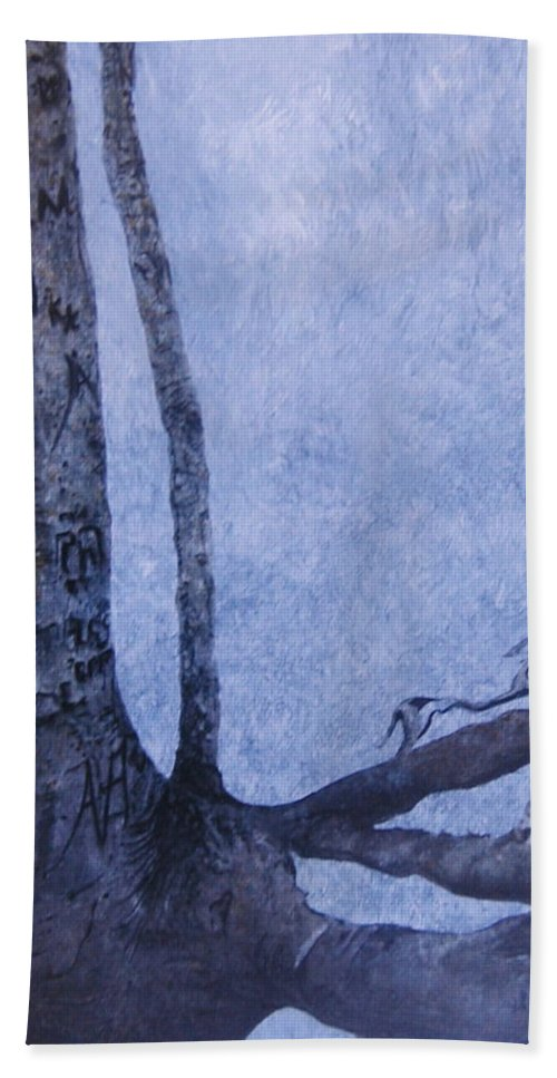 Tree Trunk Bath Towel featuring the painting Hedden Park II by Leah Tomaino