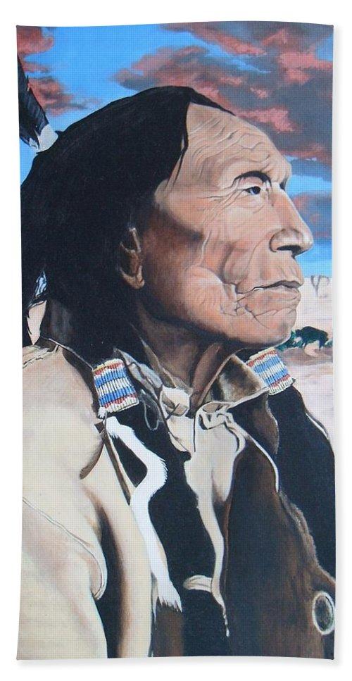 Portrait Bath Sheet featuring the painting Hehaka Sapa Black Elk by Terry Webb