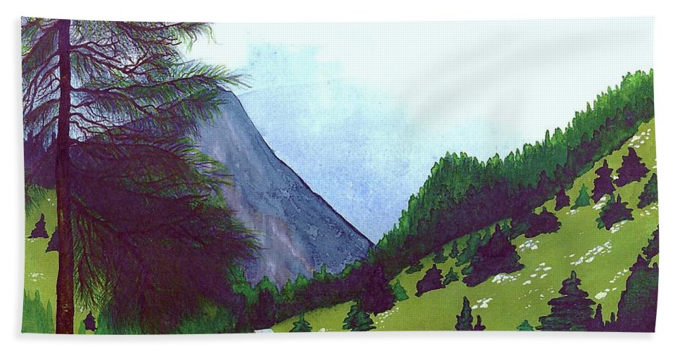 Original Painting Hand Towel featuring the painting Heidi's Place by Patricia Griffin Brett