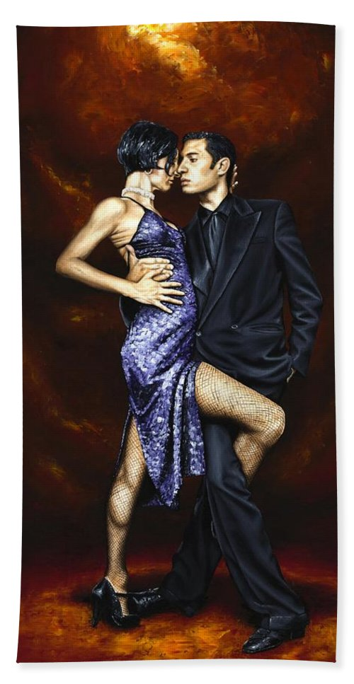 Tango Dancers Love Passion Female Male Woman Man Dance Bath Sheet featuring the painting Held In Tango by Richard Young