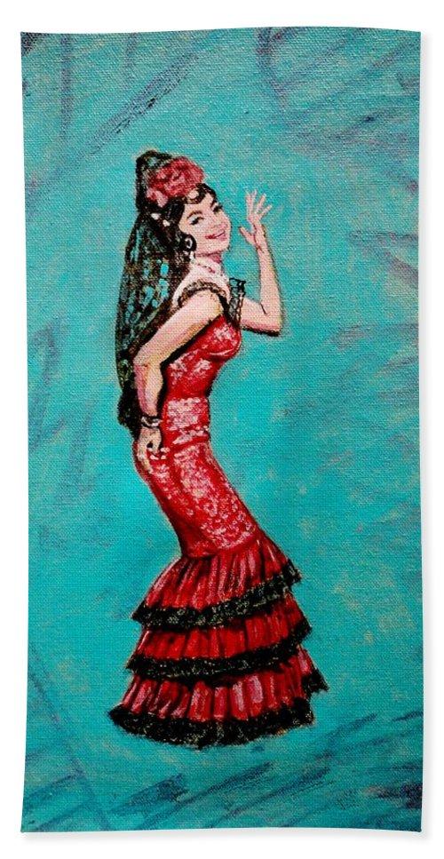 Bollywood Hand Towel featuring the painting Helen In Teesri Manzil by Usha Shantharam