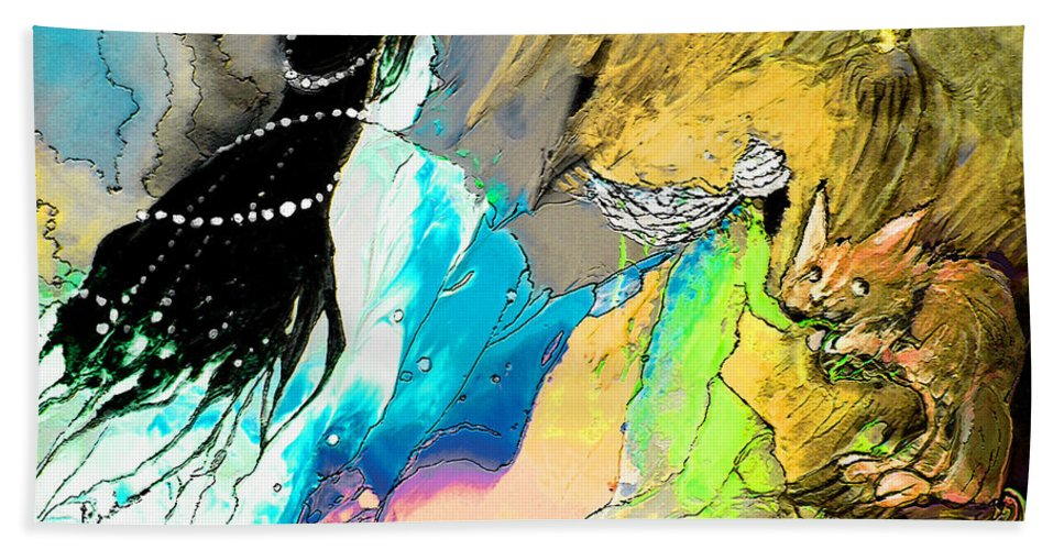 Helen Losse Hand Towel featuring the painting Helen Losse by Miki De Goodaboom