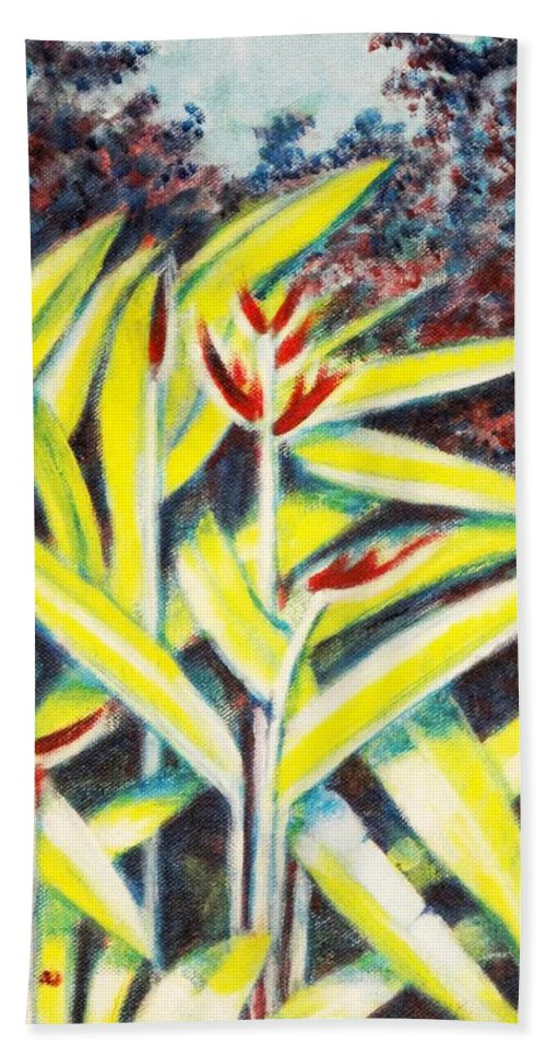 Heliconia Hand Towel featuring the painting Heliconia 2 by Usha Shantharam