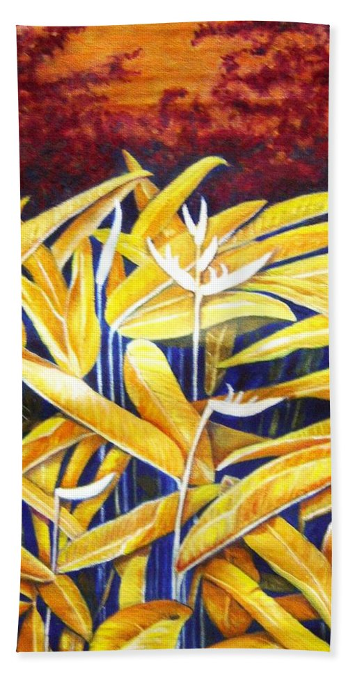Heliconia Hand Towel featuring the painting Heliconia by Usha Shantharam