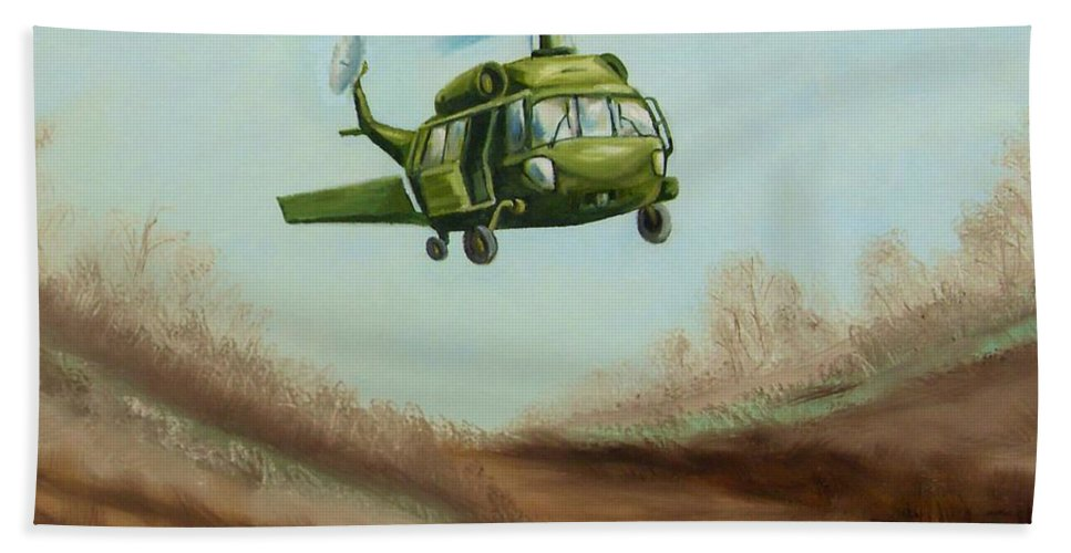 Helicopter Bath Sheet featuring the painting Helicopter by Charles Sims