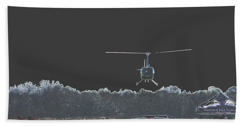 Military Bath Sheet featuring the photograph Helicopter Lift by Karol Livote