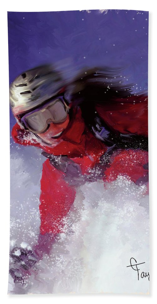 Ski Bath Sheet featuring the painting Hell Bent For Powder by Colleen Taylor