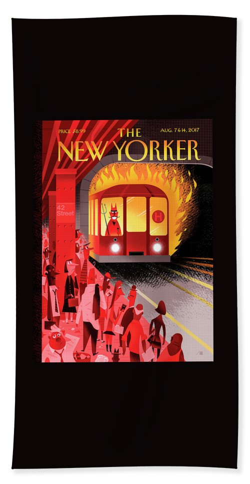 Hell Train Bath Sheet featuring the drawing Hell Train by Bob Staake