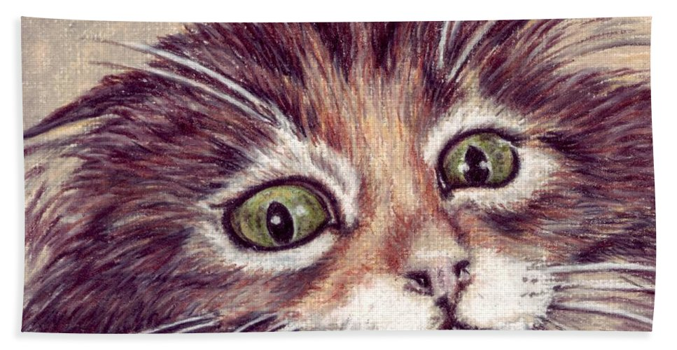 Cat Hand Towel featuring the drawing Hello Clarice by Kristen Wesch