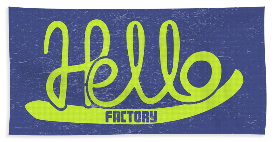 Illustration Hand Towel featuring the digital art Hello Factory by Ana Cortes