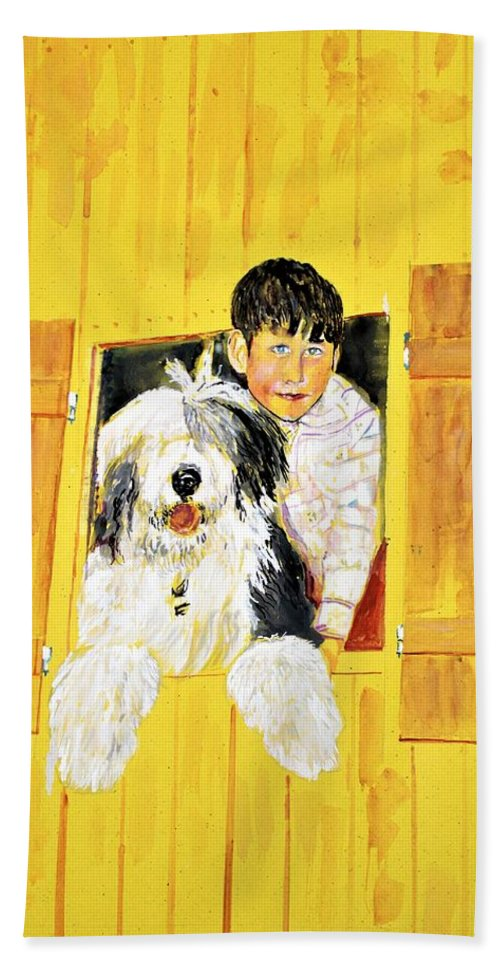Dog Bath Sheet featuring the painting Hello Friends, We Are Here by Khalid Saeed