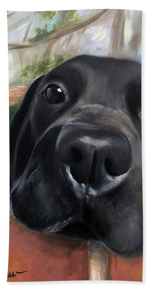 Black Lab Hand Towel featuring the painting Hello by Mary Sparrow