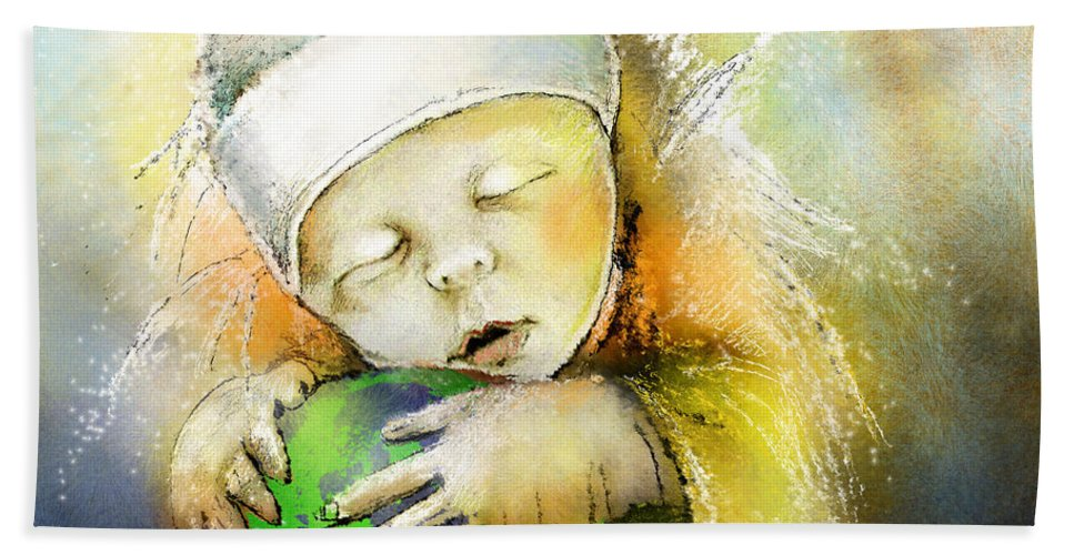 Baby Hand Towel featuring the painting Hello World by Miki De Goodaboom