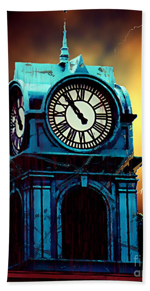 Blood Hand Towel featuring the painting Hells Timeclock by RC DeWinter