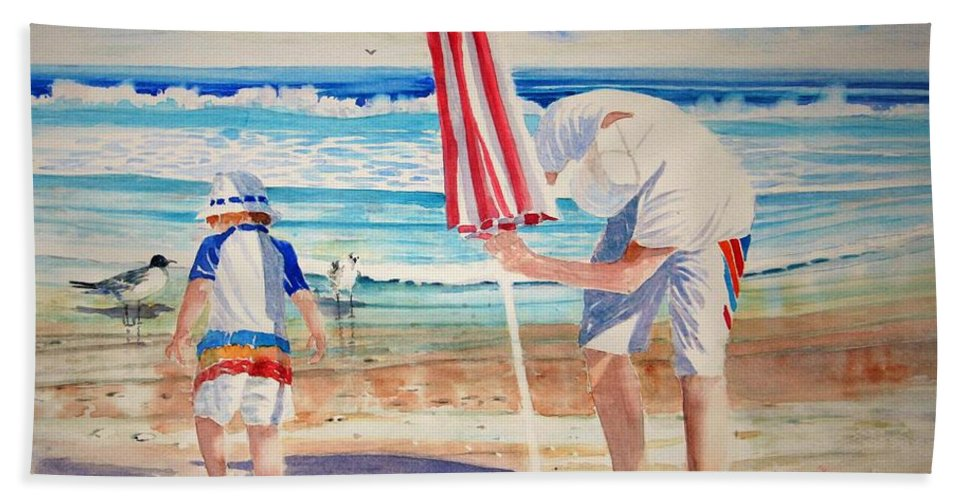 Beach Hand Towel featuring the painting Helping Dad Set Up The Camp by Tom Harris