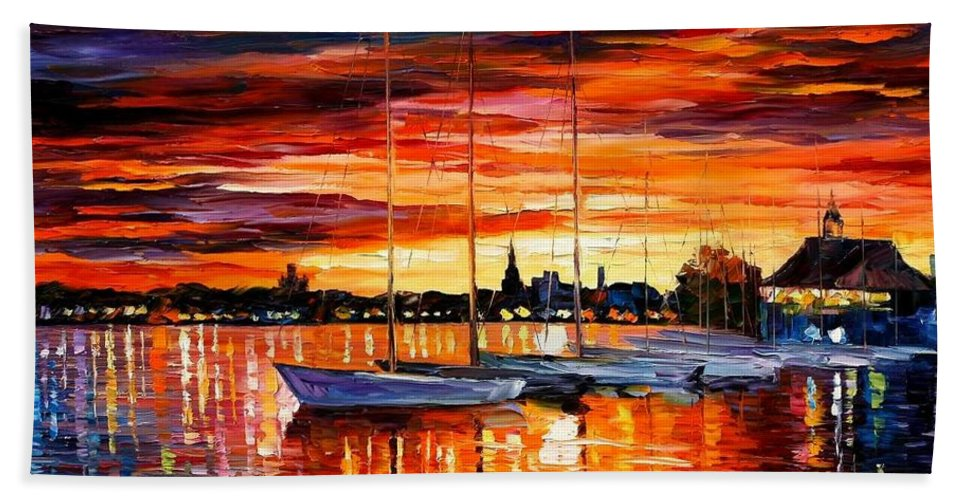 Afremov Bath Sheet featuring the painting Helsinki - Sailboats At Yacht Club by Leonid Afremov