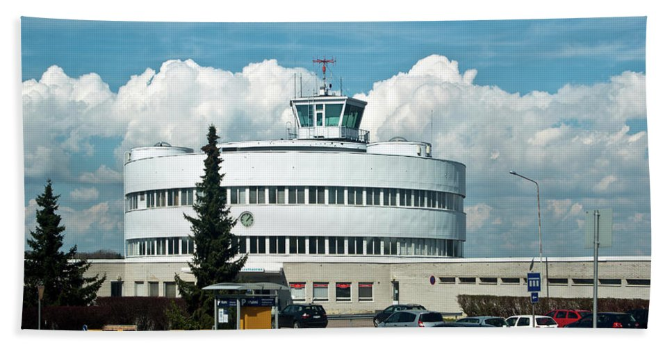 Functionalism Hand Towel featuring the photograph Helsinki - Malmi Airport Building by Jarmo Honkanen