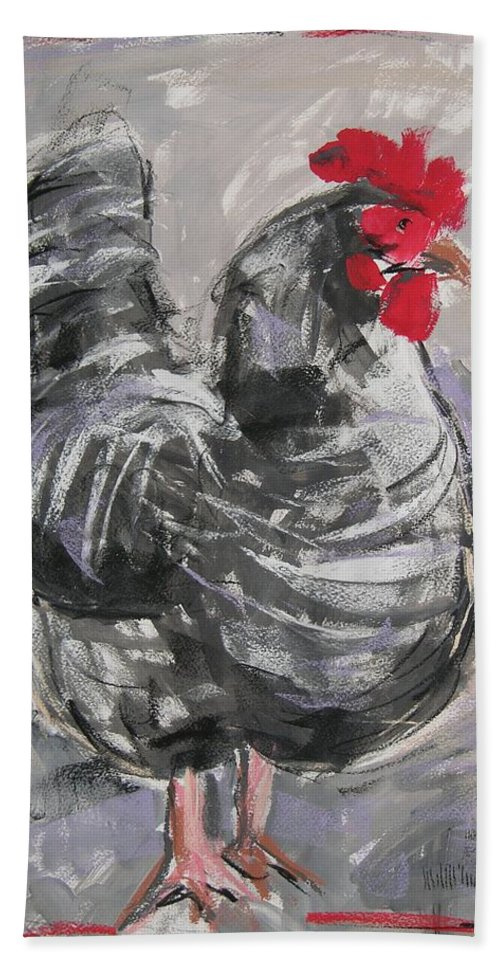 Hen Hand Towel featuring the painting Hen II by Mary McInnis