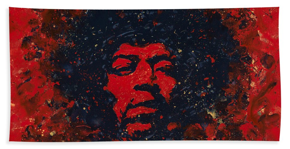 Jimi Hendrix Hand Towel featuring the painting Hendrix by Chris Mackie