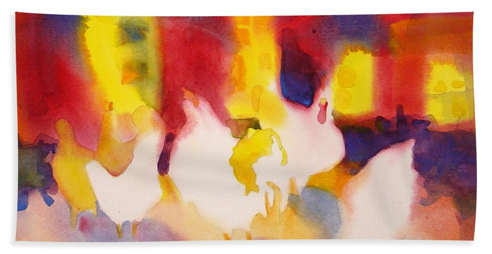 Paintings Hand Towel featuring the painting Henhouse Serenade by Kathy Braud