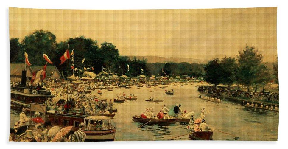 Henley Regatta Hand Towel featuring the painting Henley Regatta by James Jacques Joseph Tissot