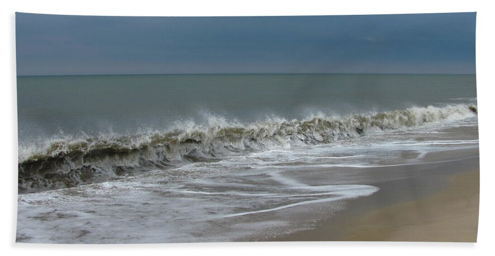 Ocean Wave Storm Seascape Coast Beach Shore Photographs Canvas Prints Hand Towel featuring the photograph Henlopen Shore by Joshua Bales