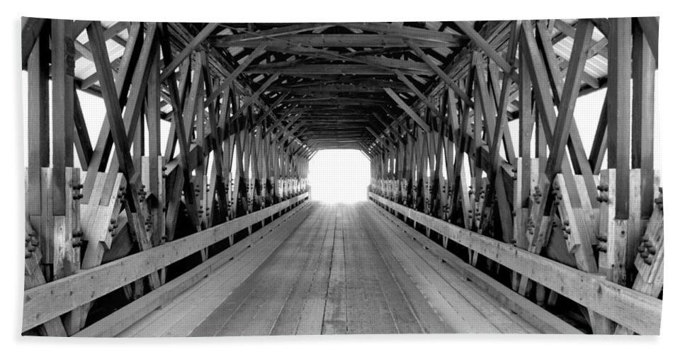 Henniker Hand Towel featuring the photograph Henniker Covered Bridge by Greg Fortier