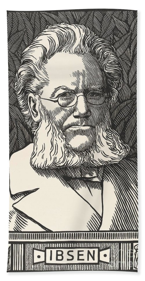 Historic Bath Sheet featuring the photograph Henrik Ibsen, Norwegian Playwright by Wellcome Images