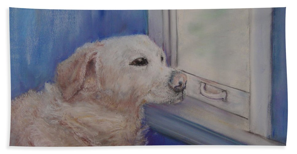 Dogs Bath Sheet featuring the painting Henry by Loretta Luglio