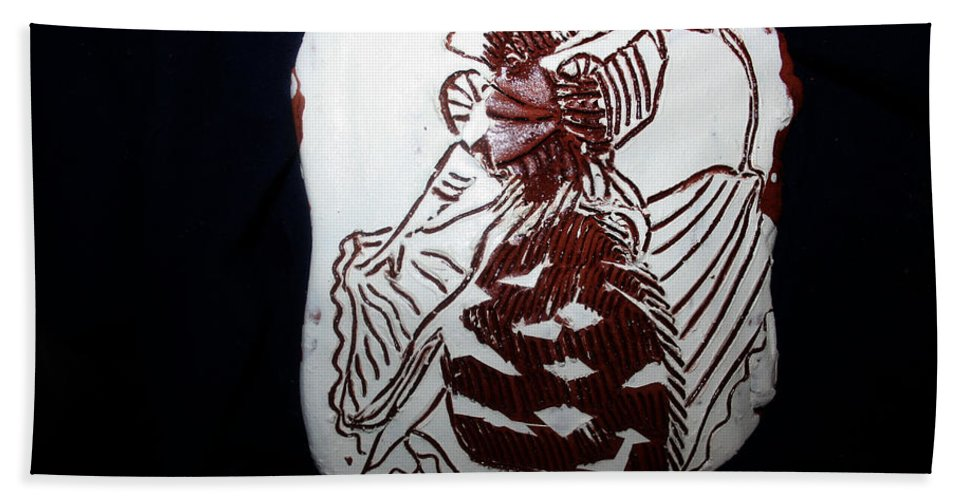 Jesus And Flamenco Tiles Bath Sheet featuring the ceramic art Her 5 by Gloria Ssali