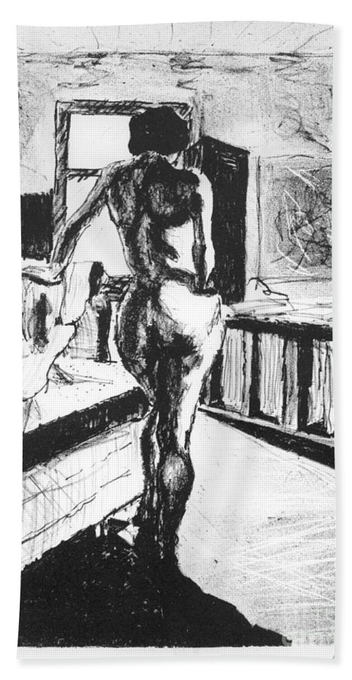 Lithograph Bath Sheet featuring the mixed media Her Back by Ron Bissett