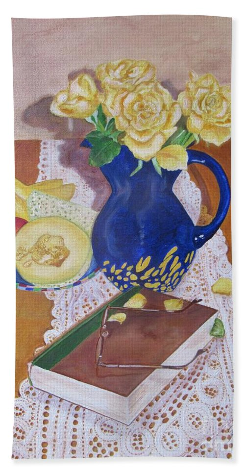 Still Life Hand Towel featuring the painting Her Book by Graciela Castro