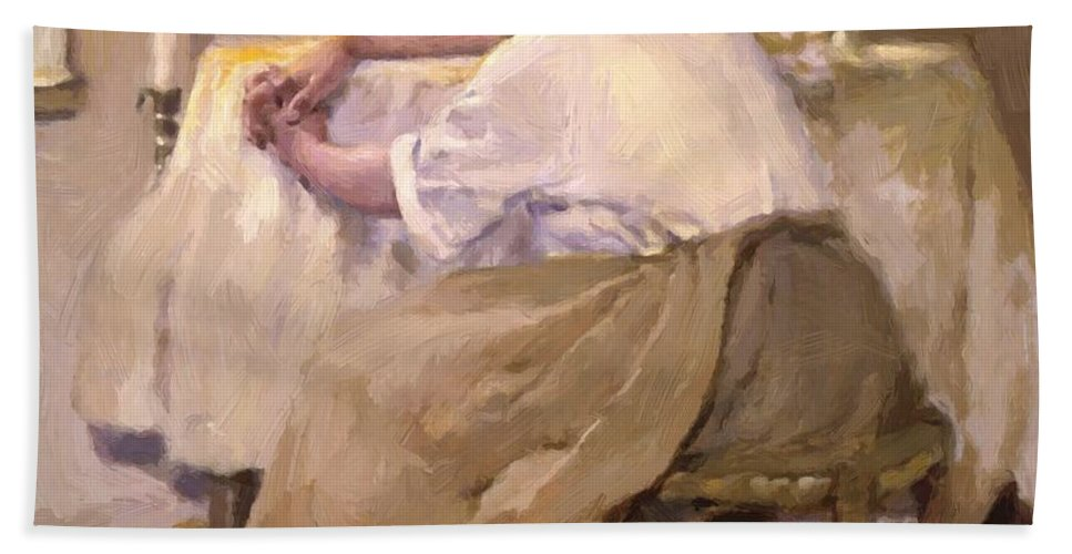 Her Hand Towel featuring the painting Her First Born 1888 by Reid Robert Lewis