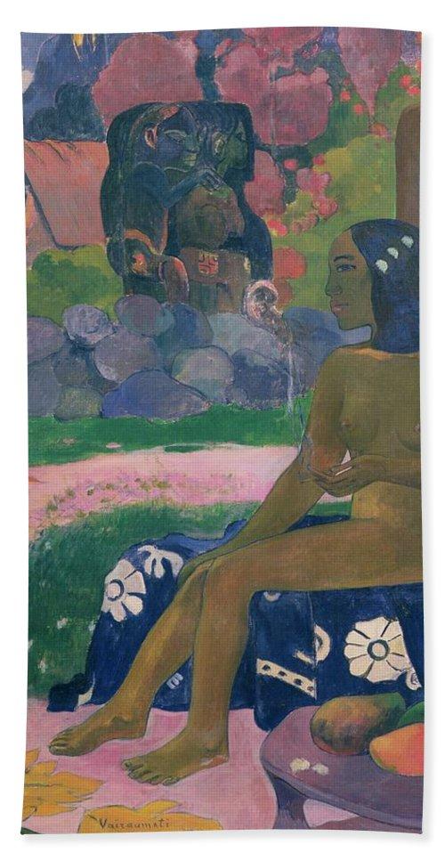 Vairaumati Tei Oa (her Name Is Vairaumati) Bath Sheet featuring the painting Her Name Is Vairaumati by Paul Gauguin