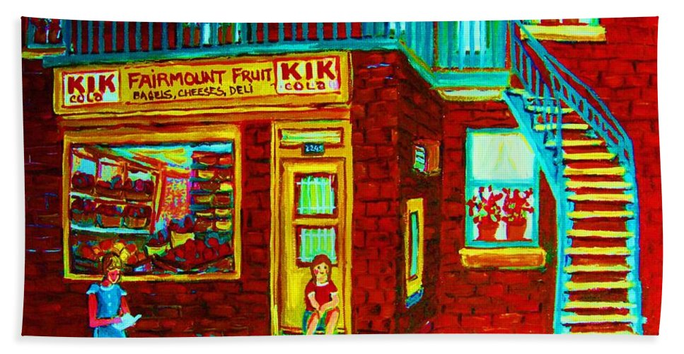 Fmontreal Hand Towel featuring the painting Her Shopping List by Carole Spandau