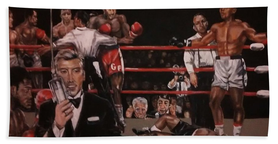 Boxing Hand Towel featuring the painting Here We Go Again by Sylvester Wofford