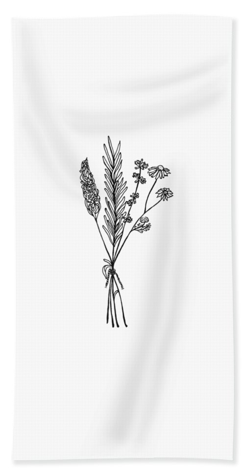 Chamomile Hand Towel featuring the drawing Herb Bouquet by Jessica Mileur