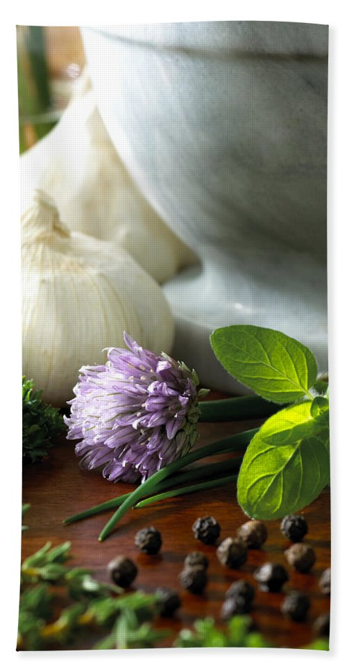 Herbs Hand Towel featuring the photograph Herbs by Daniel Troy