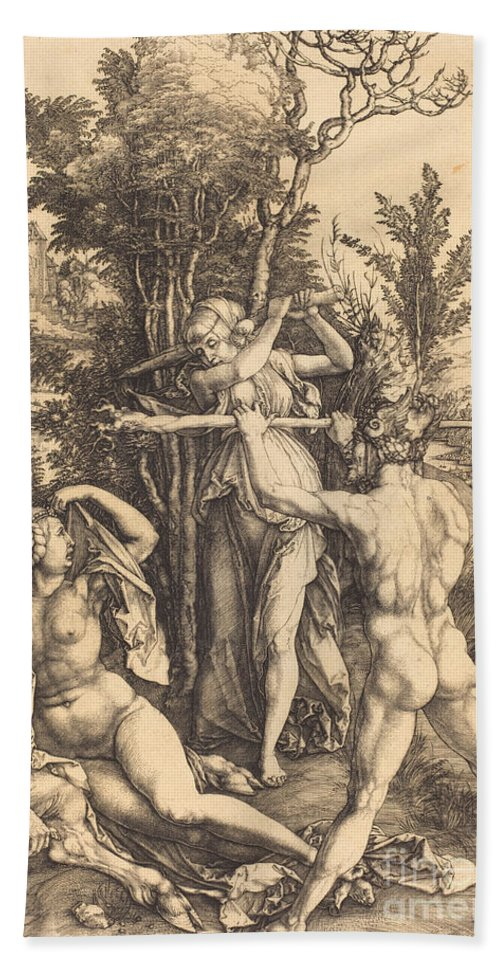 Hand Towel featuring the drawing Hercules by Albrecht D?rer