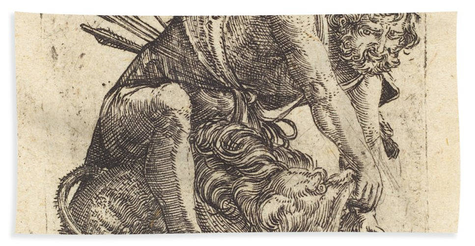Hand Towel featuring the drawing Hercules Overcoming The Nemean Lion by Albrecht Altdorfer