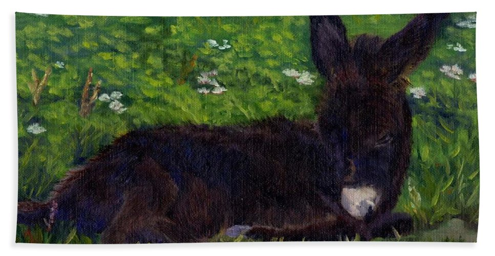Donkey Bath Sheet featuring the painting Hercules by Sharon E Allen